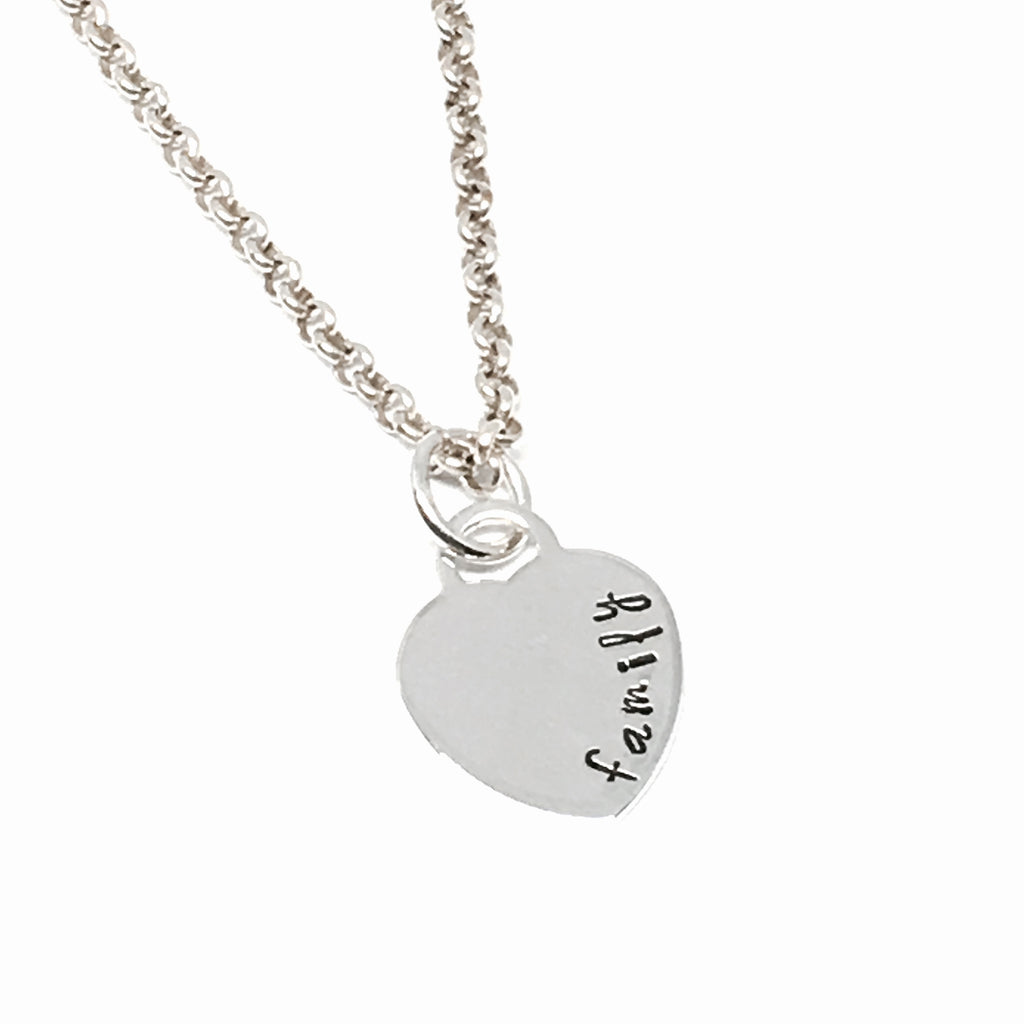 Custom Hand Stamped Heart Necklace
