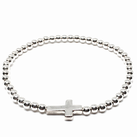 Sterling Silver 4mm Stretchy Ball Cross Bracelet