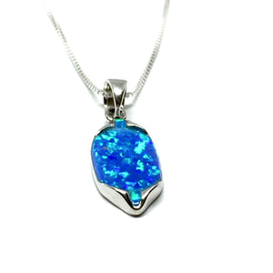 Sterling Silver Peruvian Blue Opal Charm Necklace