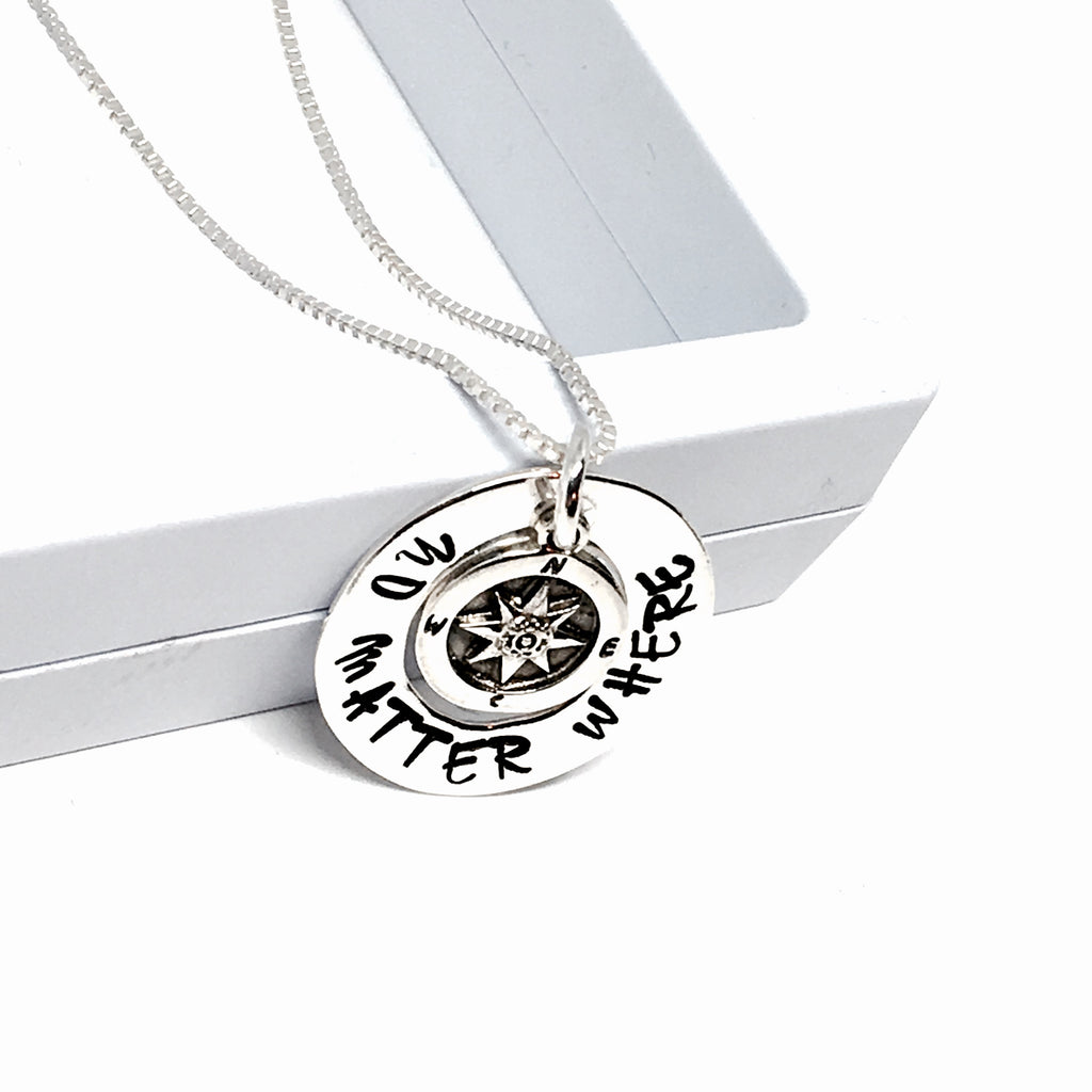 Custom hand Stamped Compass Necklace