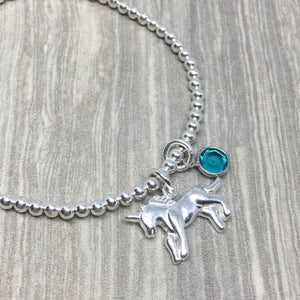 Sterling Silver Unicorn Stretch Bracelet