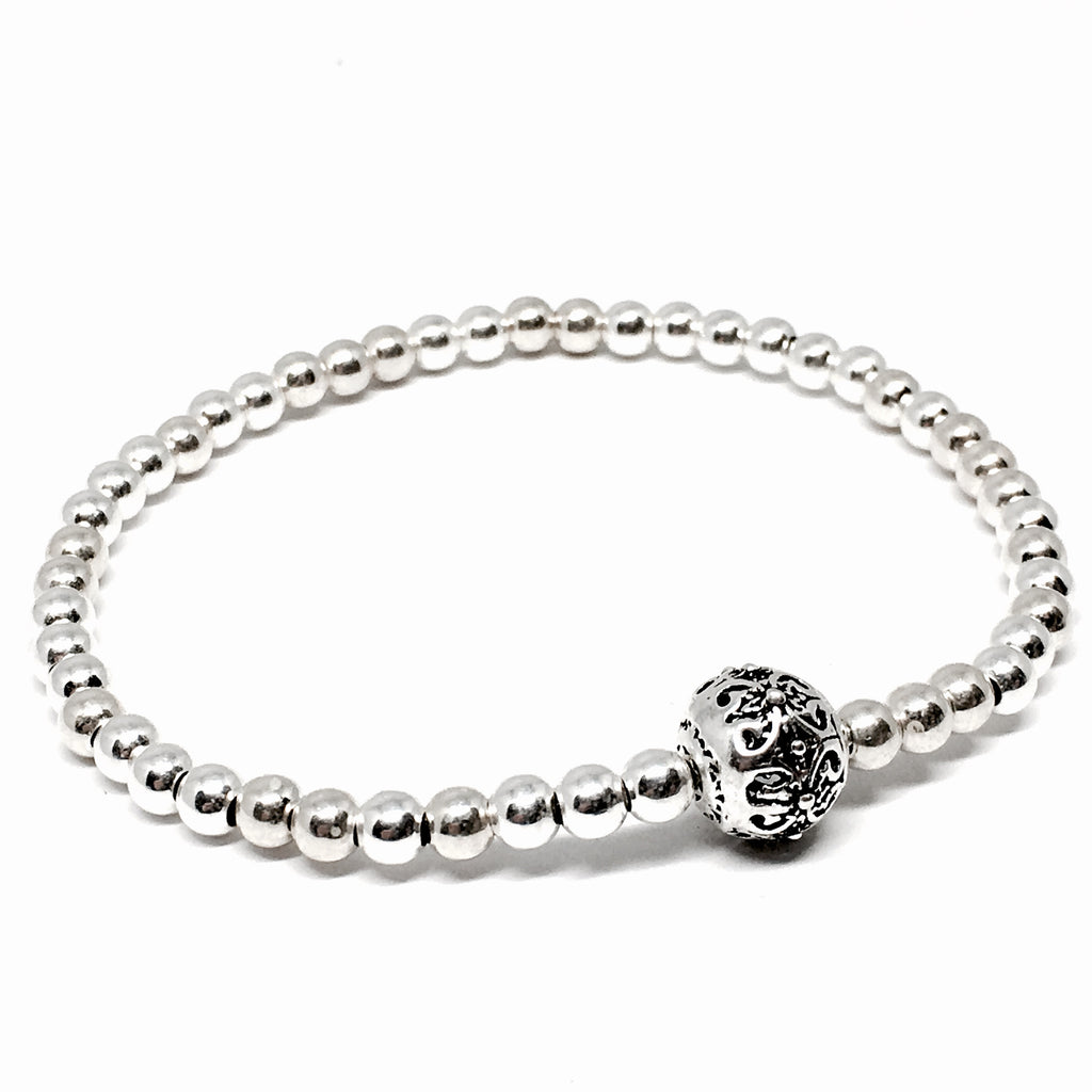 4mm Sterling Silver Bead Bracelet with Filigree Charm