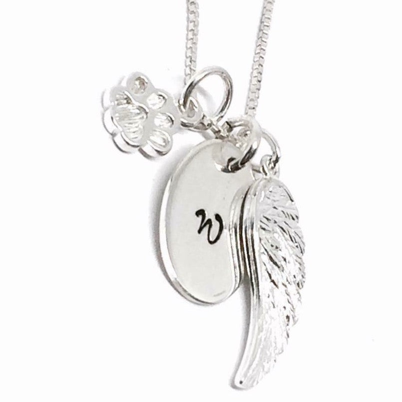 Custom Initial Dog Paw Angel Wing Necklace