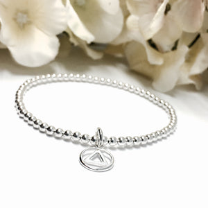 3mm Silver Stretch Bracelet with AA Recovery charm