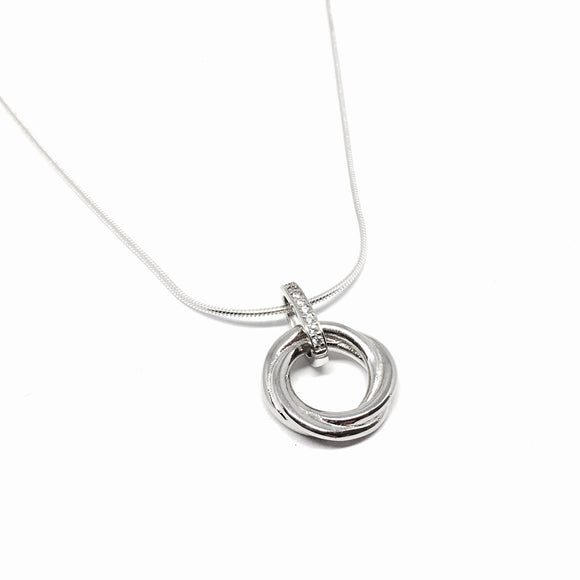 Sterling Silver Forever Double Ring Cubic Snake Necklace