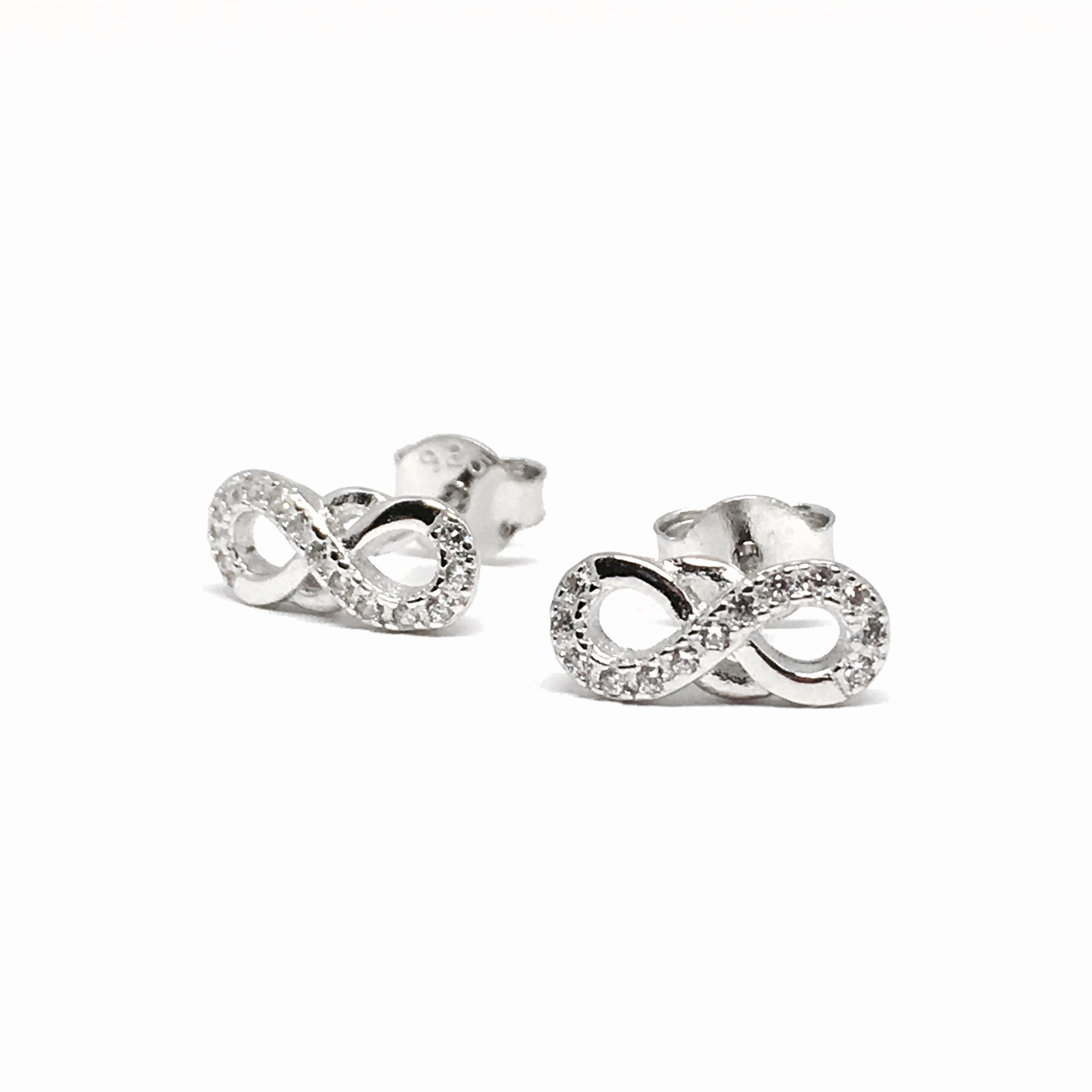 a28967133 STERLING SILVER INFINITY SPARKLE EARRINGS - Contagious Designs