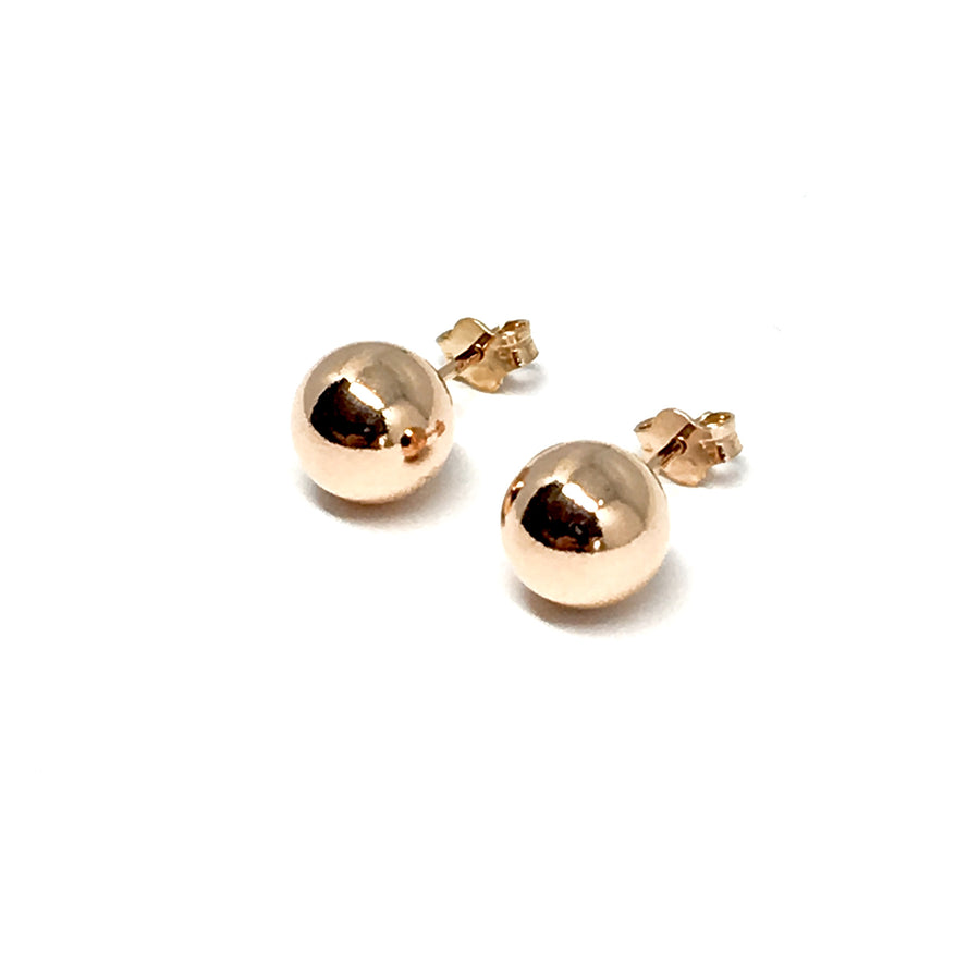 ROSE GOLD OVER STERLING SILVER 8MM STUD EARRINGS