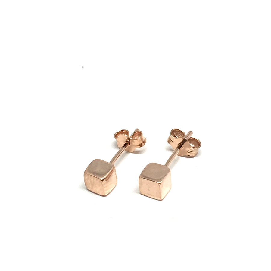 4-5-6-7MM ROSE GOLD OVER STERLING SILVER CUBE EARRINGS