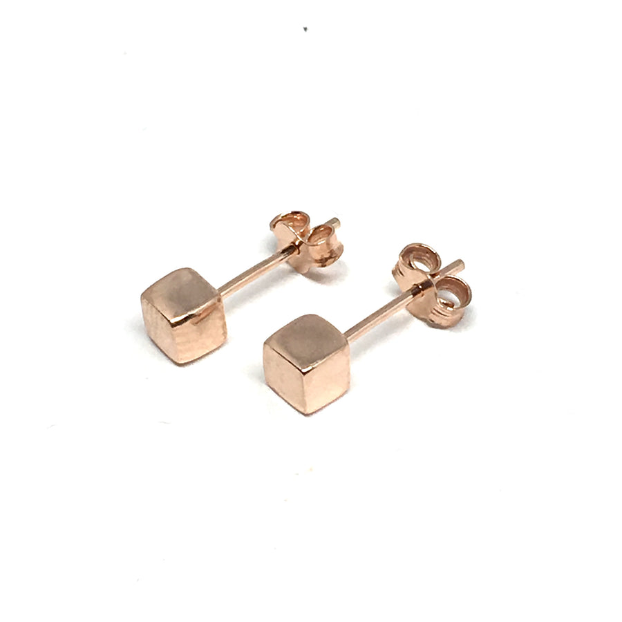 6MM ROSE GOLD OVER STERLING SILVER CUBE EARRINGS