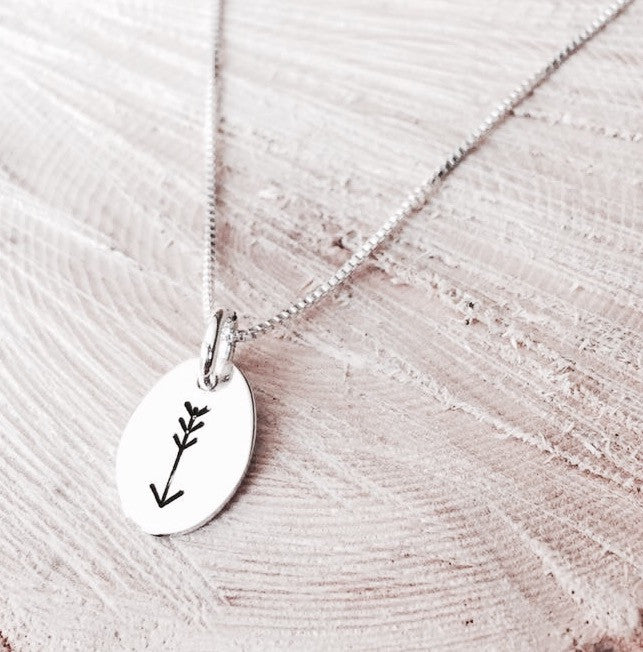 Sterling Silver Hand Stamped Arrow Necklace