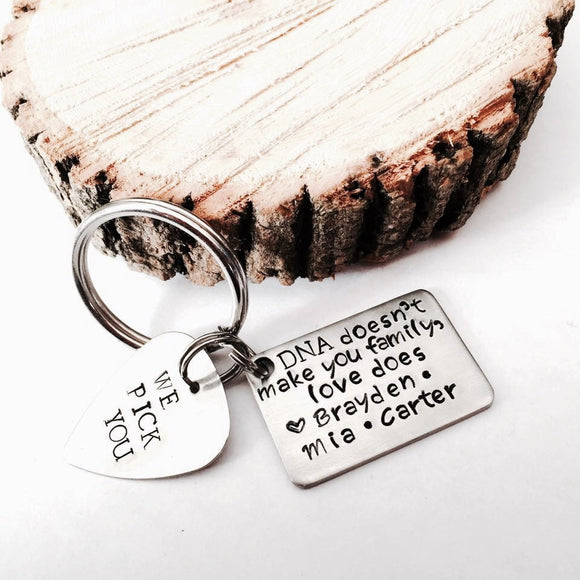 Double Custom Hand Stamped Keychain