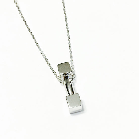 Sterling Silver Barbell Necklace