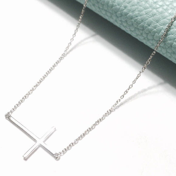 Sterling Silver Cross Necklace (Side Cross)