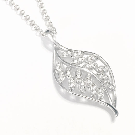 Gorgeous Silver Crystal Leaf Necklace