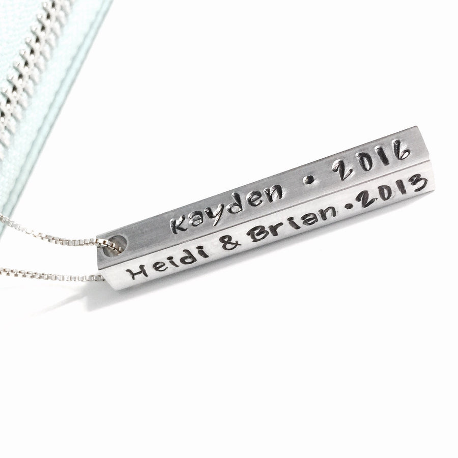 4D Rectangle Necklace - Custom Stamped
