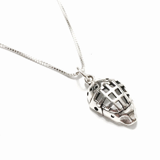 Sterling Silver Hockey Mask Necklace