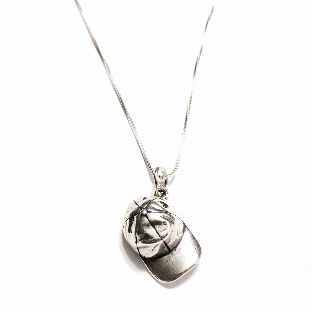 Sterling Silver Baseball Hat Necklace