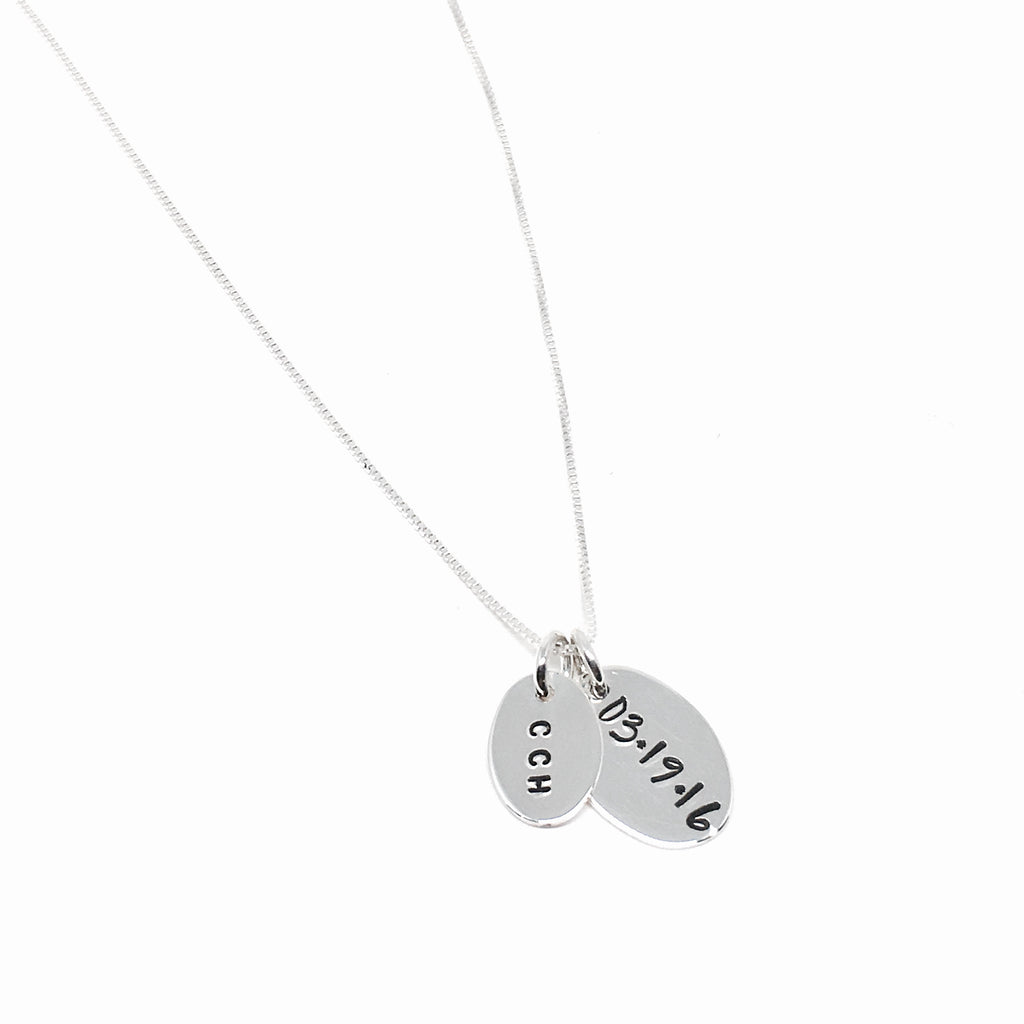 Custom Hand Stamped Sterling Silver Silver Mixed Tag Necklace
