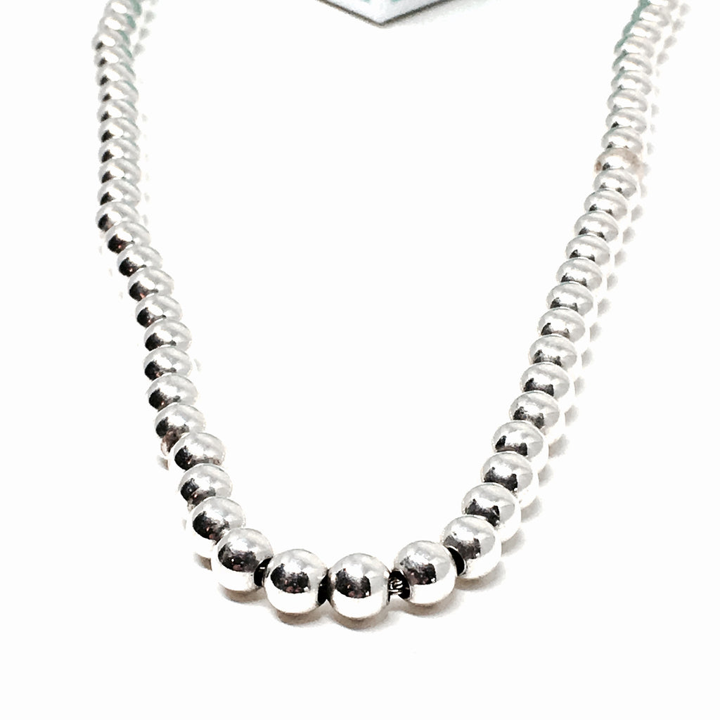 Sterling Silver 6mm Ball Necklace - Made in Italy