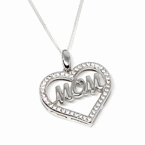 "Sterling Silver & Cubic Z ""MOM"" Necklace"