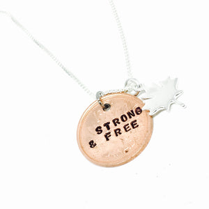 Sterling Silver Penny Necklace w/Silver Maple Leaf