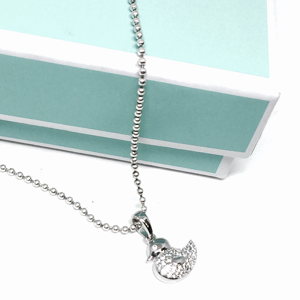 Silver & Cubic Rubber Ducky Necklace