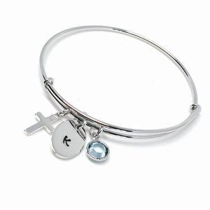 Adjustable Custom Initial & Cross Bangle Bracelet