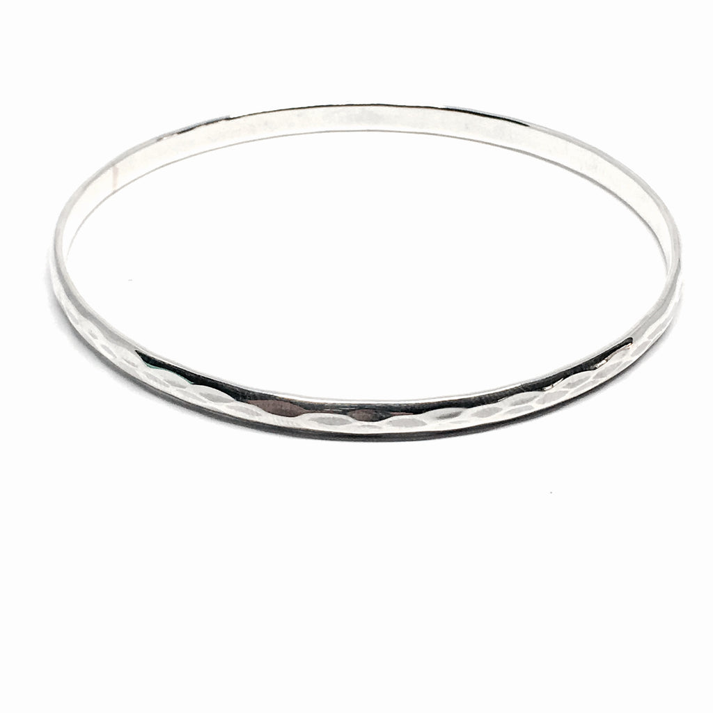 Large Hammered Silver Bangle