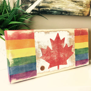 Proud Canadian Rainbow Wood Block & Penny