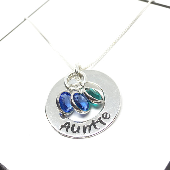Customized Sterling Silver Donut (21mm) Necklace w/Optional Swarovski Birthstones