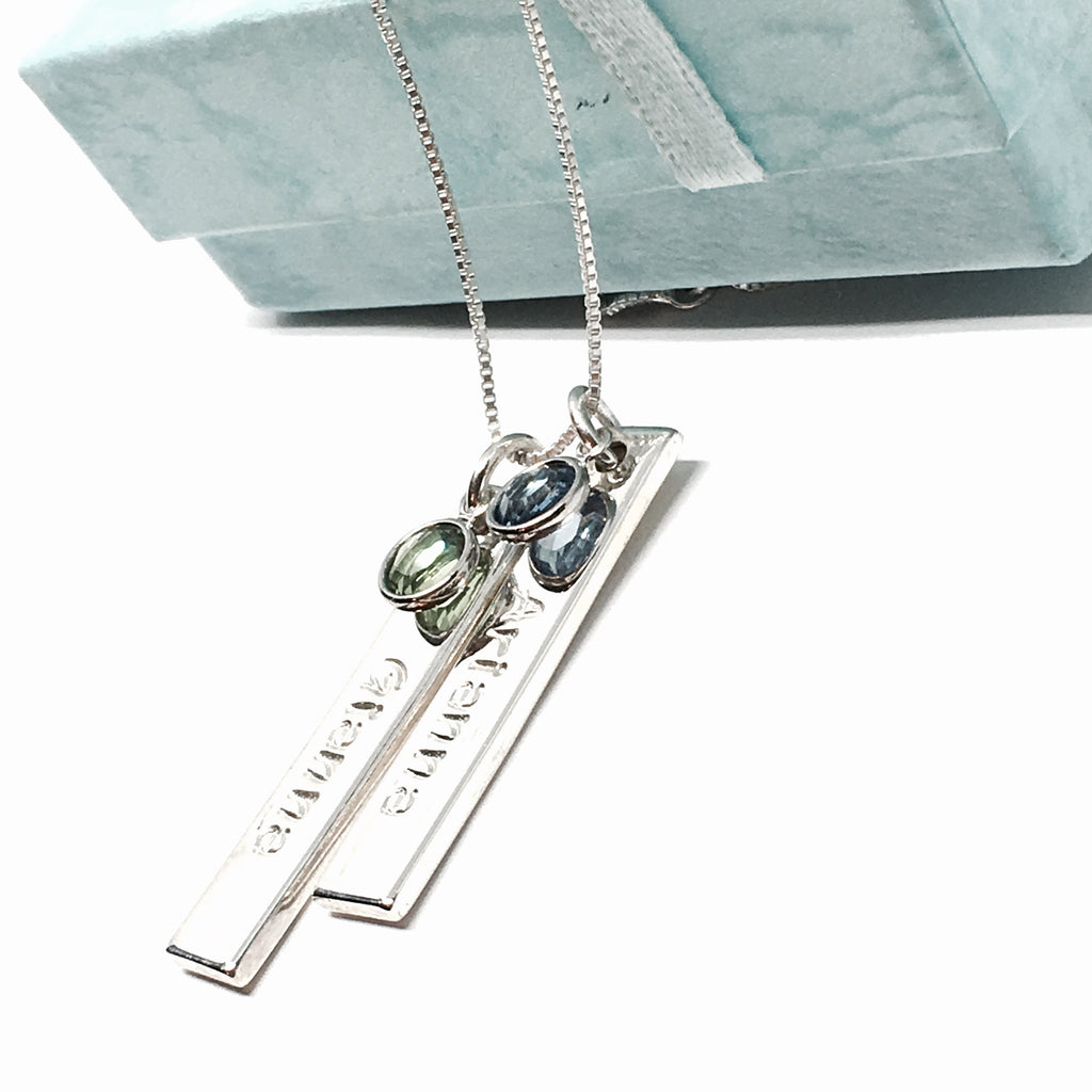 Double Elite Thick Bar Gemstone Necklace