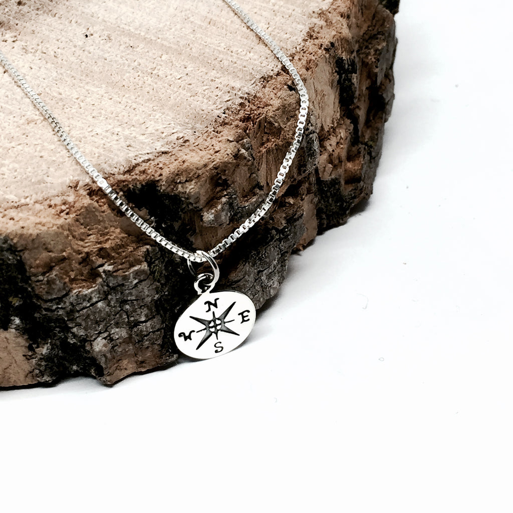 Sterling Silver Mini Compass Necklace
