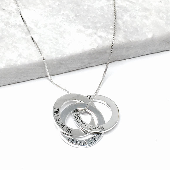 Custom Triple Ring Pendant Necklace