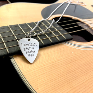 Custom Hand Stamped Guitar Pick -  Stainless Steel