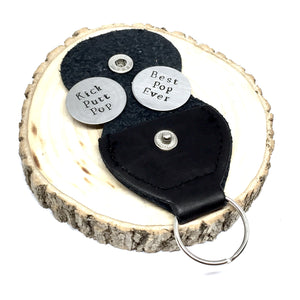 2 Custom Hand Stamped Golf Ball Markers w/ Key Ring Case