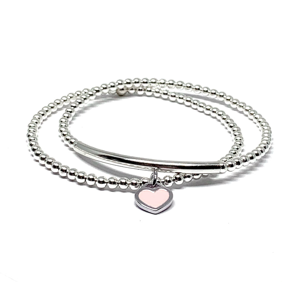 THE PINK HEART STERLING SILVER BRACELET SET (2)