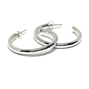 30MM x 3MM ROUND STERLING SILVER HOOPS