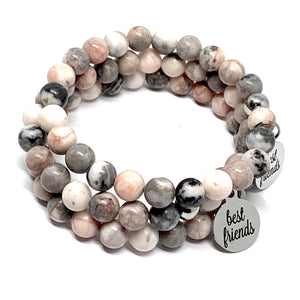 "THE PINK ZEBRA JASPER ""BEST FRIENDS"" MALA BRACELET"