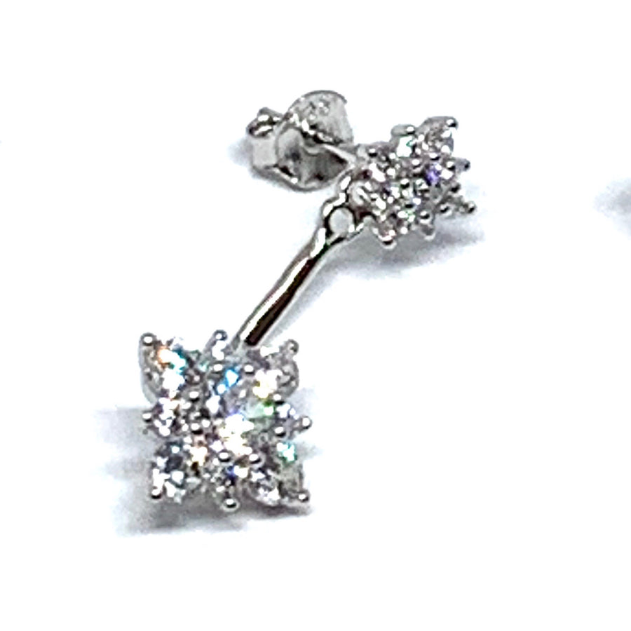 2-in-1 JACKET EARRINGS - STUNNING STERLING SILVER SPARKLE