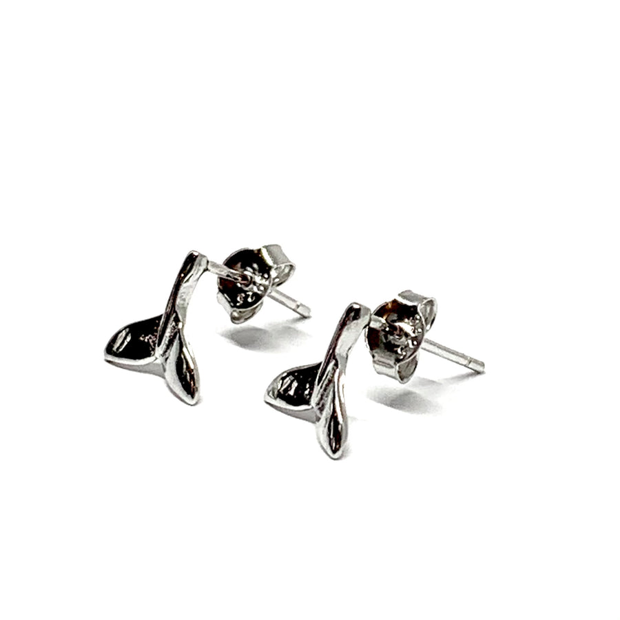 STERLING SILVER DOLPHIN / WHALE TAIL STUD EARRINGS