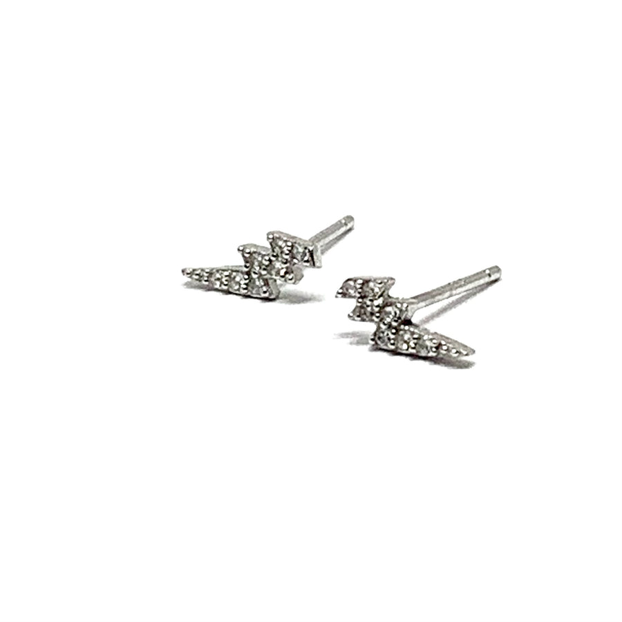 STERLING SILVER & CUBIC LIGHTNING BOLT EARRINGS