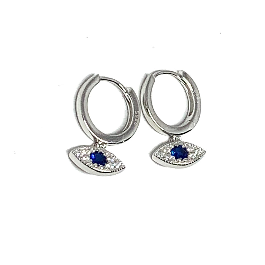 STERLING SILVER EVIL EYE HUGGER EARRINGS