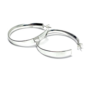 LIGHTWEIGHT 40MM STERLING SILVER HOOPS