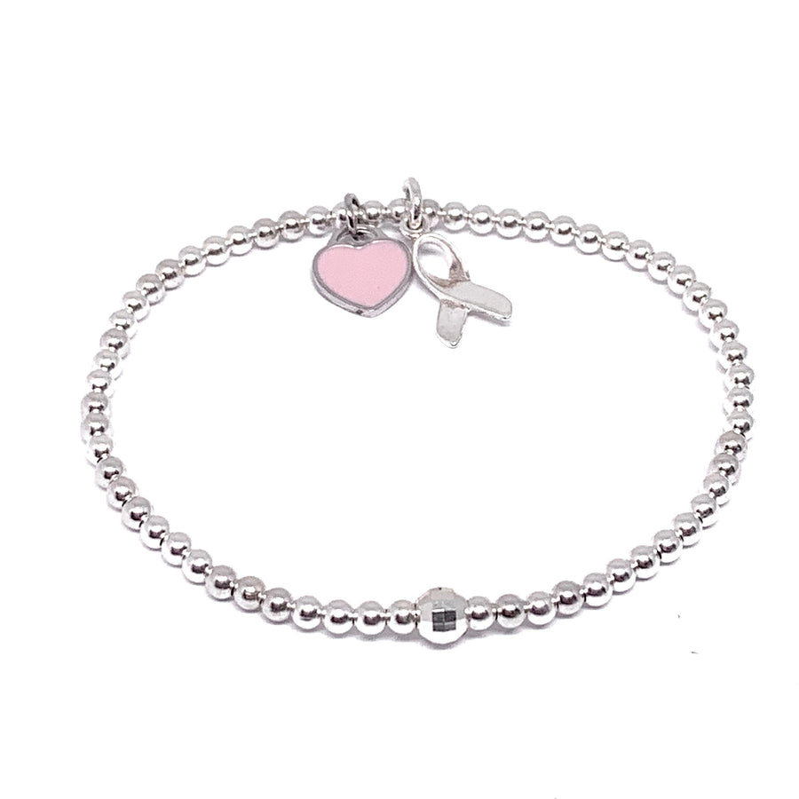 STERLING SILVER PINK HEART CANCER RIBBON BRACELET