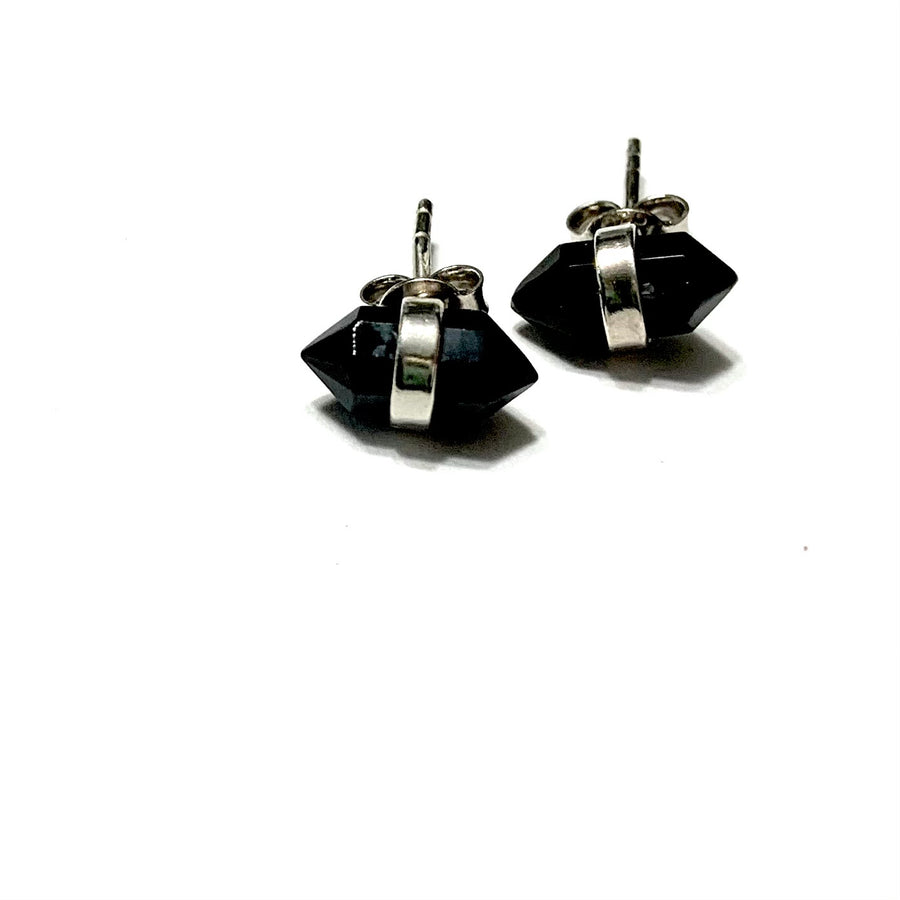 STERLING SILVER BLACK ONYX STUD EARRINGS