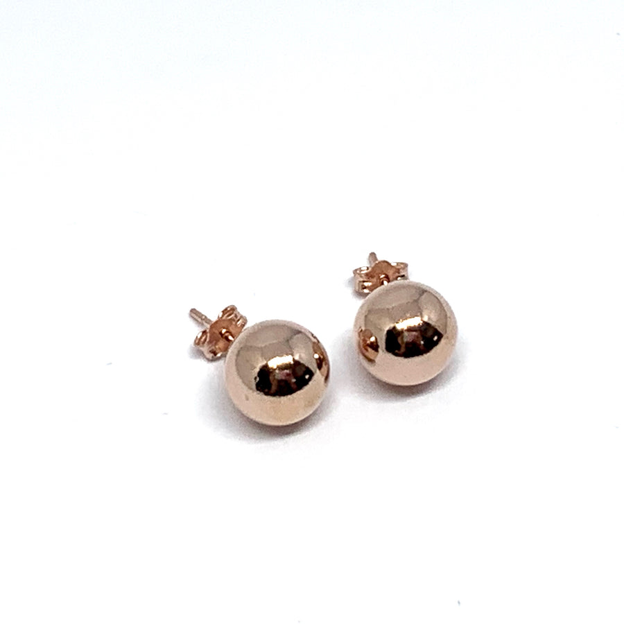 10MM ROSE GOLD OVER STERLING SILVER SMOOTH ROUND STUD EARRINGS
