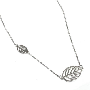 Sterling Silver Double Leaf Necklace