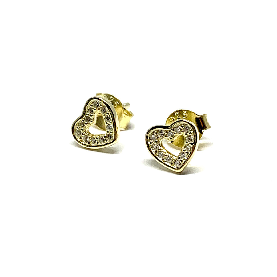 GOLD OVER STERLING SILVER SPARKLE HEART EARRINGS