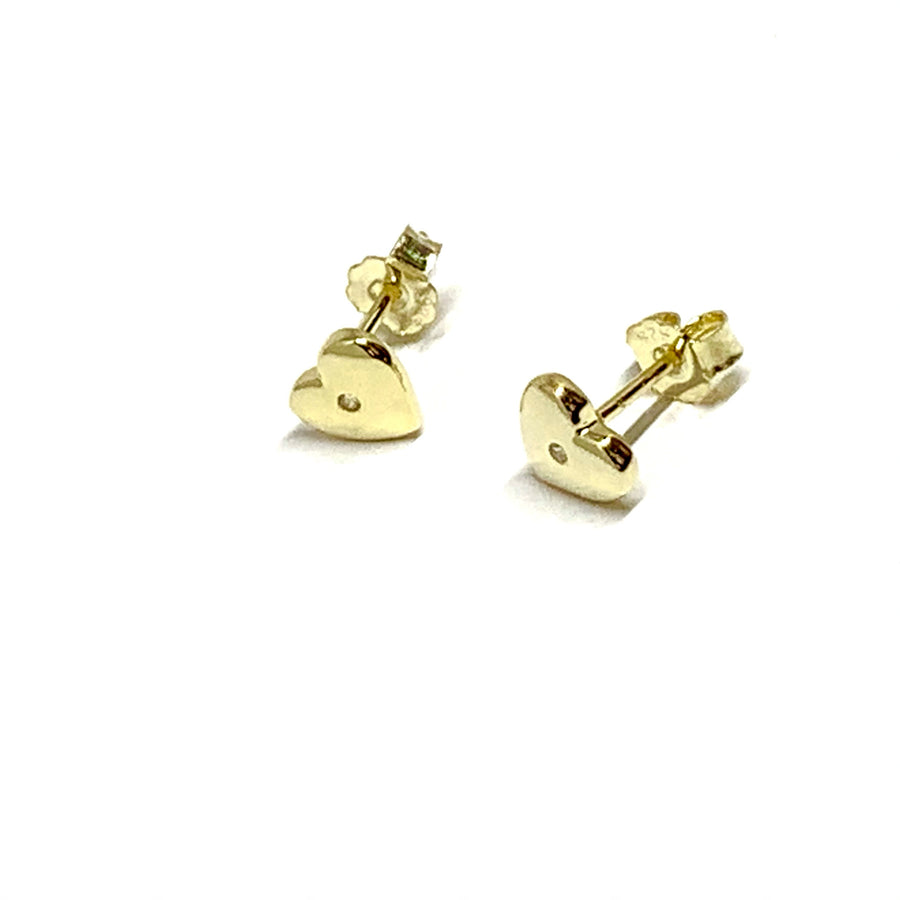 GOLD OVER STERLING SILVER HEART CUBIC CHIP EARRINGS