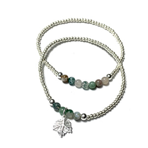 STERLING SILVER LEAF & GEMSTONE BRACELET SET (2)